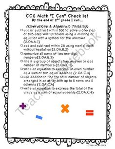 """Math CCS -These are the 2nd grade Math Common Core Standards written out in """"I can"""" statements for students to be accountable for what they know in 2nd grade."""