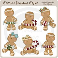 Festive Gingers - Christmas Candy - Clip Art - $1.00 : Dollar Graphics Depot, Quality Graphics ~ Discount Prices