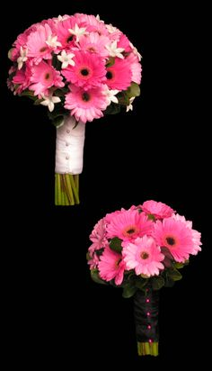 pink mini gerbera bridal party wedding bouquets