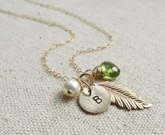 Personalized Gold Leaf Birthstone & Initial Necklace, Golden Feather, Pearl, Peridot, Bridesmaid Gifts, Letter charm, fall wedding via Etsy