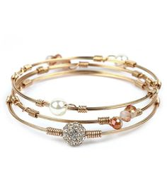 WHOLESALE MULTI PEARL AND CRYSTAL STACKABLE 3 WIRE BANGLE BRACELET SET 432490
