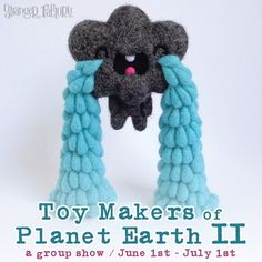 """I am really excited to share with you my upcoming group exhibition """" TOY MAKERS OF PLANET EARTH II"""" on Stranger Factory!    And who's this teary cloud?   His name os """"Cry Baby Cloud"""" and It's my piece for the show!    #toymakersofplanetearth #strangerfactory #droolwool #artexhibition #softsculpture #toymakers #toycollector #toyartistry #designertoy #arttoy #rainycloud #kawaiisoftsculpture #charactermakers #independenttoy #contemporarytoyartists"""
