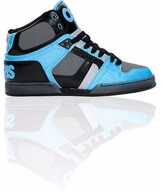 OSIRIS SHOES NYC 83 BLACK CYAN CHARCOAL HI TOP TRAINERS