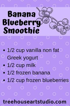 health smoothies A delicious smoothie recipe: Banana Blueberry Yogurt Smoothies, Apple Smoothies, Yummy Smoothies, Juice Smoothie, Smoothie Drinks, Smoothies With Spinach, Yummy Drinks, Blueberry Banana Smoothie, Blackberry Smoothie
