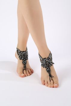 Free ship Black silver beads Barefoot Sandals by ByMiracleBridal