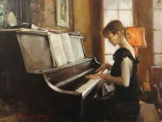 """Pianist (oil on linen, 18×24) by Glenn Harrington, featured in the new book """"Oil Painting With the Masters."""" ~ch #oilpainting #howtopaint"""