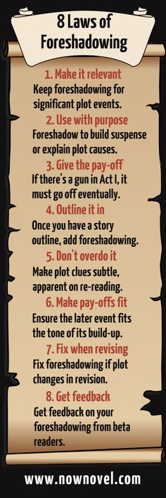 Foreshadowing Laws: How to Foreshadow Plot Right Infographic: Rules for foreshadowing. Read tips.Infographic: Rules for foreshadowing. Read tips. Creative Writing Tips, Book Writing Tips, Writing Process, Writing Quotes, Writing Resources, Writing Help, Writing Skills, Writing Ideas, Quotes Quotes
