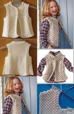 Knitting For Kids, Easy Knitting, Knitting Patterns, Diy Crafts Crochet, Baby Girl Sweaters, Baby Vest, Vest Pattern, Lion Brand Yarn, Garter Stitch