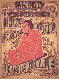 Monk, meditation, humor