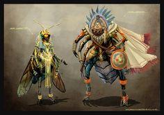 """""""Cleopatra Wasp and Mayan Spider"""" by~nagisadreamer"""
