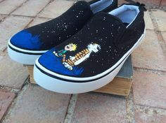 Calvin and Hobbes Custom Hand-Painted Shoes by 1DownTheRabbitHole