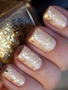 Nude and gold glitter nails #mani #manicure #nails #glitter #gold