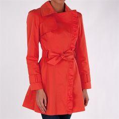 Jessica Simpson Ruffle Front Trench Coat #VonMaur #JessicaSimpson