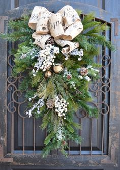 Rustic French winter holiday swag burlap cream frost by DoorBling, $165.00