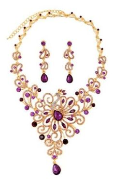 Saint Christine Purple Crystal Peacock Necklace and Drop Earrings Set Crystal Jewery Set for Women with Golden Chain, Pendant Necklace for Women and Girls by Saint Christine at the XYS Online