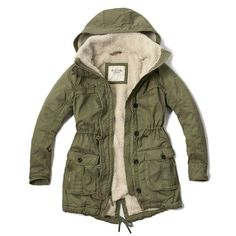 735d630a78548 Abercrombie & Fitch Sherpa Lined Military Parka ($120) ❤ liked on ...