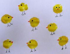 Pom Pom painted chicks at 100 Storytimes