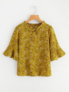 c6935becf55 SHEIN offers Calico Print Flute Sleeve Frill Blouse   more to fit your  fashionable needs. Amazing Dress Blog