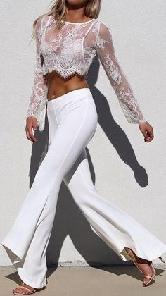 #summer #fblogger #outfits | Lace Top + Chic Pants in All White