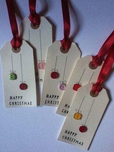 Handmade Gifts Similar Items Like Handmade Gift Tags on Etsy Christmas Gift Wrapping, Diy Christmas Gifts, Christmas Projects, Handmade Christmas, Christmas Decorations, Button Christmas Cards, Christmas Items, Noel Christmas, Christmas Ornaments