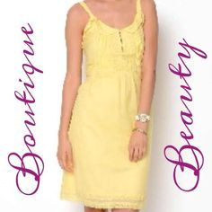 BNWT Fabulous Boutique Dress Gorgeous! On line purchase that I never wore. It's still in the package. Retail price I paid was $108 plus tax! simply stunning! Featuring a gorgeous shade of yellow, front button closure and gorgeous lace & ruffle detailing! Grab it now before its gone! My loss is your gain! Esley Boutique Brand  Dresses