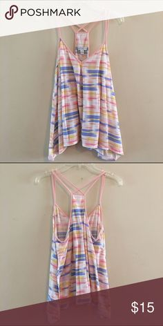 AE Striped Top This tank top is in gently used condition and is super cute. The material is light weight which is perfect for layering it with a bralette or even alone for hot summer days. ☀️ make me an offer today  American Eagle Outfitters Tops Tank Tops