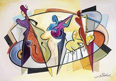 Alfred Gockel-Mad About Jazz Alfred Gockel, Scrapbooking Image, Jazz Art, Georges Braque, Abstract Shapes, Cubism, Fine Art Gallery, Musical Instruments, Modern Art