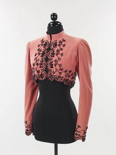 Wool, Beaded Jacket by Elsa Schiaparelli, 1940 1940s Fashion, Look Fashion, Vintage Fashion, Womens Fashion, Fashion 2018, Elsa Schiaparelli, Vintage Outfits, Vintage Dresses, Black Mermaid Dress