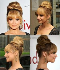 Updo with bangs Evening Hairstyles, Wedding Hairstyles, Red Carpet Updo, Nicole Richie Hair, Creative Hair Color, Special Occasion Hairstyles, Long Hair With Bangs, Hair Affair, Creative Hairstyles