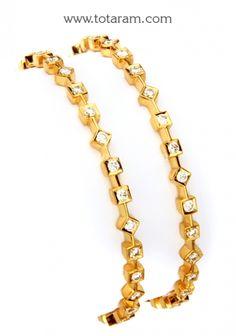 Diamond Bangles in 22K Gold: Totaram Jewelers: Buy Indian Gold jewelry & 18K Diamond jewelry