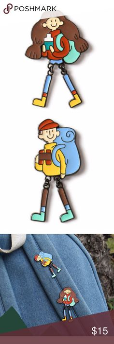 Traveling Backpacking Camping Girl Boy Brooch Pins These are two young and fun enamel pins.  Perfect for outdoor fans and travel aficionados.   BRAND NEW.  The listing price is for one brooch.  You can pick either, or both for a discount. Jewelry Brooches