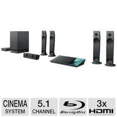 Sony 5.1 Channel 1000 Watts 3D Blu-ray DVD Wireless Surround Sound Home Theater System with Full HD 1080p