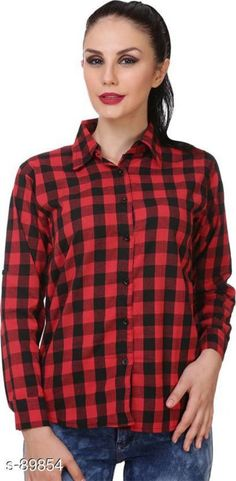 Shirts Classic Cotton Checked Women Shirt  *Fabric* Cotton 