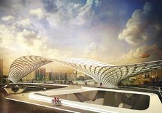 Rival designs unveiled for a new pedestrian and cycle bridge in London that would stretch over the Thames between Nine Elms and Pimlico Bridges Architecture, Landscape Architecture, Arcade Architecture, Landscape Plaza, Conceptual Architecture, London Architecture, Bridge Design, Roof Design, Pedestrian Bridge