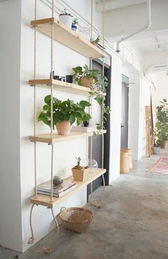 Make Your Own Hanging Rope Shelf· Want to administer your home a natural, craftsman feel? Hanging rope shelves square measure an excellent answer. Hanging Bookshelves, Diy Hanging Shelves, Plant Shelves, Suspended Shelves, Diy Shelving, Book Shelves, Storage Shelves, Shelves With Plants, Book Shelf Diy