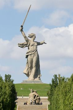 The 279 ft (87 m) tall Motherland Calls (or The Mamayev Monument), commemorating the Battle of Stalingrad in 1942-1943, designed by Yevgeny Vuchetich and Nikolai Nikitin, erected Volgograd, Russia, 1967: Mega sculptures of the world