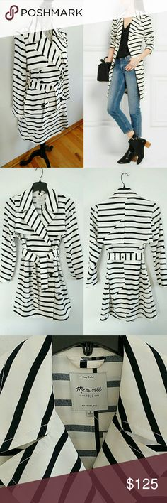 SALE📣 Madewell Parcel striped crepe trench coat S Light and fluid, Madewell's unlined crepe trench coat is perfect for layering between seasons. It's decorated with horizontal black stripes and finished with classic storm flaps. Wear yours open or temper the loose fit with the buckle-fastening belt.  - Off-white and black crepe. - Button fastenings through double-breasted front. - 100% polyester.  Now or never, sale till 9/14/16. - Machine wash. Madewell Jackets & Coats Trench Coats