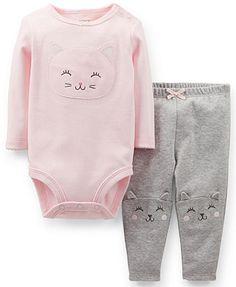 Carter's Baby Girls' 2-Piece Long-Sleeve Kitty Bodysuit & Pants Set