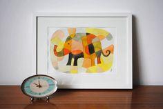 Nursery Art Print Elephant 1 - Mid Century Modern Art Print Poster Kids Art Print pink yellow mustard orange black 8 x 11. $19.00, via Etsy.