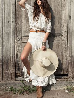 White Off The Shoulder Cotton Crochet Top And Side Split Maxi Skirt