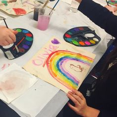 Today is not only our last children's art class with Katarina, it was also the last day of #rainbowsinthelibrary! And what a beautiful rainbow it is  #librariesofinstagram #library #libraryart #art #rainbows #beverlyfarms
