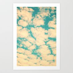 Clouds and Sky (Retro and vintage blue - turquoise sky and clouds) Art Print by Andrea Caroline  - $22.88