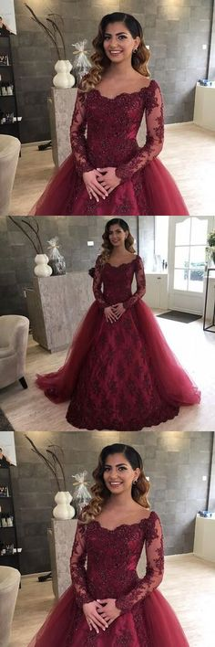 Charming Prom Dress, Long Sleeve Appliques Evening Dress, Burgundy Tulle Ball Gown Prom Dresses M2113