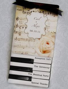 Elegant Image of Music Themed Wedding Invitations Music Themed Wedding Invitations Layered Wedding Programs Or Invitations Music Vintage Piano Sheet Music Wedding, Wedding Ceremony Music, Wedding Programs, Wedding Themes, Piano Wedding, Wedding Dresses, Wedding Decorations, Music Wedding Invitations, Wedding Stationary