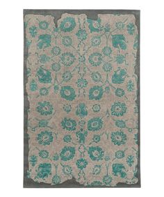 Look what I found on #zulily! Gray & Teal Damask Parchment Rug by Oriental Weavers #zulilyfinds