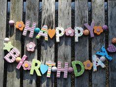 HAPPY BIRTHDAY HOLZ GIRLANDE SHABBY CHIC GEBURTSTAGSGIRLANDE HOLZGIRLANDE BUNT