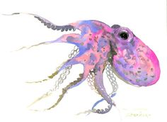 Pink Octopus art 12 x 9 in, original one of a kind watercolor painting, pink nautical beach wall art, illustration children room