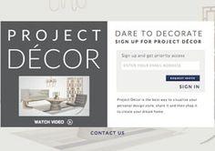 Project Decor Website.  Online design Center.  Pinterest meets room planner.