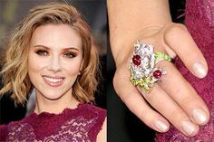 Scarlett Johansson showing off a light shimmery nude to match her gorgeous jewels! Celebrity Nails, Ruby Jewelry, Ruby Gemstone, Natural Ruby, Scarlett Johansson, Fashion Jewelry, Jewelry Making, Nail Polish, Gemstones