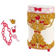 The Ever After High Apple White Jewelry Box is pearly white, gold, red, and pink with quilting, bows, and red apple details.